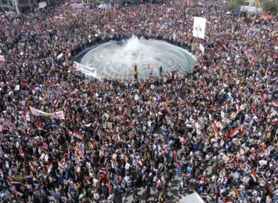 Pro-Assad supporters gathered in Damascus today.