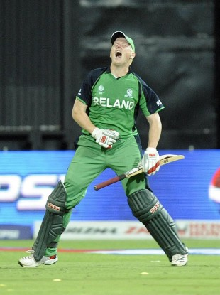 Ireland's Kevin O'Brien celebrates scoring his 100.