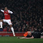Gael Clichy scores Arsenal's fifth against Leyton Orient on Wednesday night.<span class=