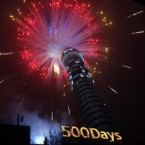 Fireworks mark the beginning of the 500-day countdown to the Olympic Games at the BT Tower in London. Pic: Sean Dempsey/PA Images.