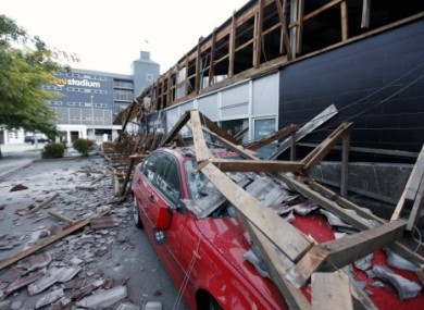 A crushed car outside the AMI Stadium in Chrstchurch.