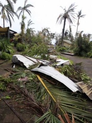 The scene after Cyclone Yasi hit Australia in February - not quite what the couple imagined