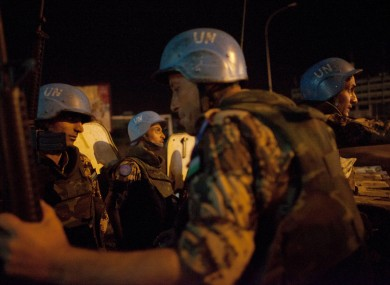 UN peacekeepers from Jordan provided security on Monday night on the streets of Abidjan, Ivory Coast.
