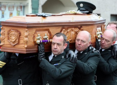PSNI officers carrying Ronan Kerr's coffin.
