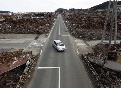 A devastated area of Kesennuma port in Kesennuma, Miyagi Prefecture in northeastern Japan earlier today.