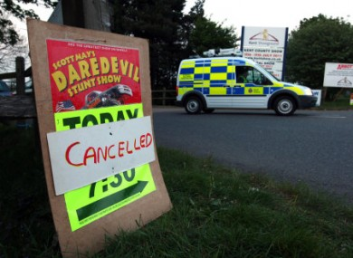 The entrance to the Kent County Showground in Detling where a man died after a safety net failed during a human cannonball stunt.