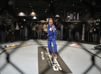 Georges St-Pierre works out in the octagon in preparation for UFC 129 in Toronto tomorrow.