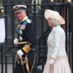 Charles keeps firm grip of his ceremonial sword as Camilla looks on.