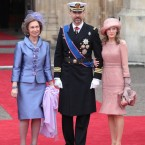 Spain's Prince Felipe is flanked by Princess Letizia and Queen Sofia.