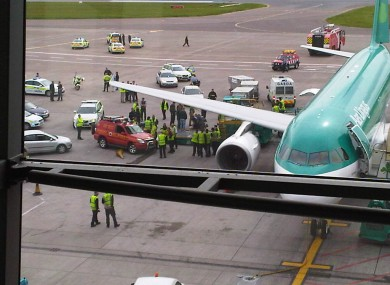 The scene at Cork airport yesterday afternoon