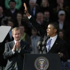 Barak Obama addresses the crowd in Dublin as Taoseach Enda Kenny looks on. (Pic: Leon Farrell/Photocall)