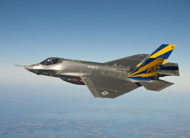 The US Navy jet F-35C, produced by Lockheed Martin.