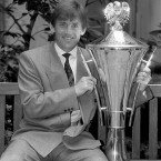 With the First Division league trophy in 1990.<span class=