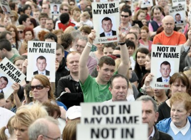 10 April 2011: Thousands of people at the peace walk in Omagh to mark the death of PSNI officer Ronan Kerr.