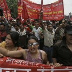Supporters of the Communist Party of Nepal (Maoist) and activists of Nepal Trade Union take out a rally to mark May Day in Katmandu, Nepal. (AP Photo/Binod Joshi)