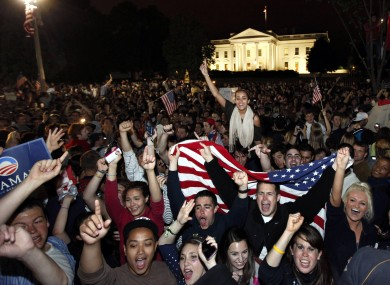 Crowds gathers outside the White House in Washington early this morning after the death of Osama bin Laden was announced.