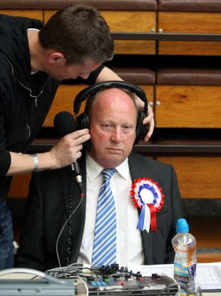 TUV leader Jim Allister during a radio interview on the second day of counting in Ballymena, Co Antrim.