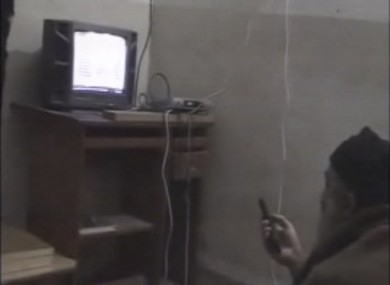 Image taken from one of the videos showing Bin Laden watching TV.