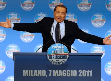 Berlusconi at a rally in Milan on Saturday