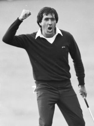 Seve Ballesteros reacts after winning the Open Championship at St. Andrews in 1984.