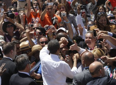 President Barack Obama greets the crowd after speaking at a rally in Texas on Tuesday. Tens of thousands will be expected when Obama attends a public event in Dublin.