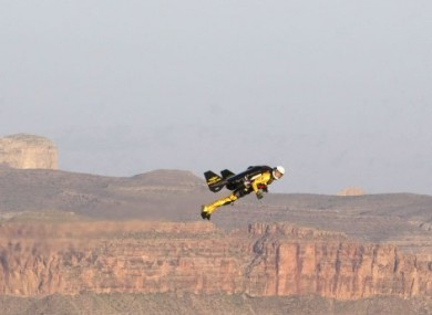 Yves Rossy, or Jetman, flying over the Grand Canyon at the weekend.