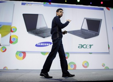 Sundar Pichai, Google's vice-president for product management, launches the Chromebook at Google's I/O conference in San Francisco.