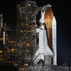 Space Shuttle Endeavour is seen at Cape Canaveral, Florida, this morning. (AP Photo/John Raoux)