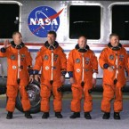 Endeavour's crew. From left, Canadian-born US astronaut Greg Chamitoff, mission specialist Drew Feustel, European Space Agency astronaut Roberto Vittori, of Italy, mission specialist Mike Fincke, British-born US astronaut, pilot Greg Johnson and commander Mark Kelly, head to Pad 39A to board the shuttle. (AP Photo/John Raoux)