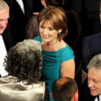 Iris Robinson with Bertie Ahern (left) and husband Peter Robinson (right) at the dinner in honour of the Queen and the Duke of Edinburgh at Dublin Castle. (John Stillwell/PA)