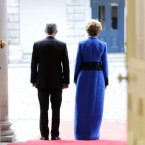 President Mary McAleese and husband Dr Martin McAleese wait for Britain's Queen Elizabeth and Duke of Edinburgh to arrive. (Maxwells/PA)