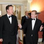 Taoiseach Enda Kenny speaks to British Prime Minister David Cameron at Dublin Castle. (Mark Cuthbert/UK Press/PA)
