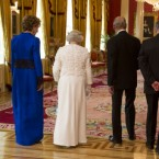 President McAleese walks through Dublin Castle with Queen Elizabeth, the Duke of Edinburgh and Dr McAleese. (Mark Cuthbert/UK Press/PA)