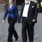 Former President and UN human rights commissioner Mary Robinson and her husband Dr Nick Robinson arrive at Dublin Castle for the special event. (Mark Cuthbert/UK Press/PA)
