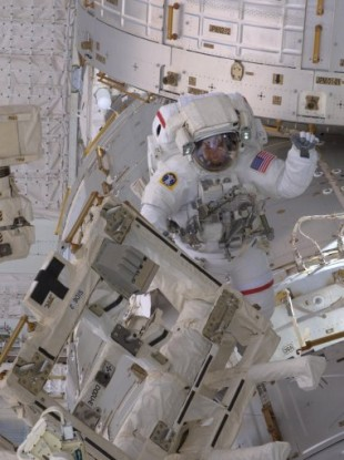 NASA astronaut Drew Feustel during a spacewalk on 20 May 2011 during Endeavour's mission to the ISS.
