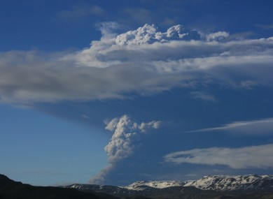 Smoke rises from the Grimsvotn volcano on Saturday