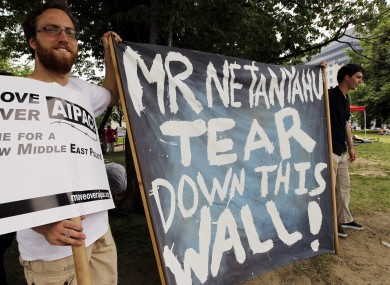 Pro-Palestinian campaigners protest outside of the Washington Convention Center at the weekend.