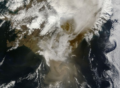 NASA satellite image of the dense ash emerging from the Grimsvotn volcano on Sunday.