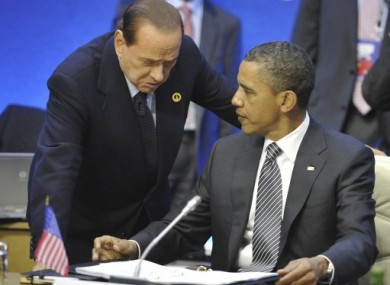 Italian Prime Minister Silvio Berlusconi pictured with US President Barack Obama at the G8 summit yesterday.