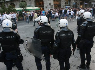 Serbian riot police on the streets of Belgrade on Thursday following Mladic's arrest.