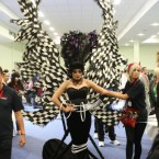 Model Sheila McCarthy from Derry pictured in an outfit entitled Aquila, competes in the Fantasy section of the championships. (Niall Carson/PA Wire)