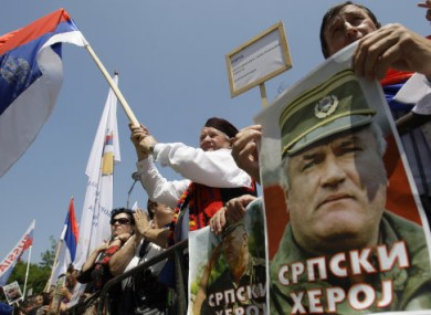 Mladic supporters protest against his arrest today in Banja Luka, about 240km north-west of Sarajevo.