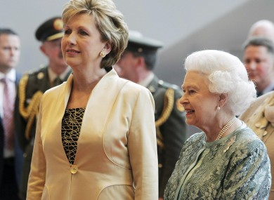 New best friends Queen Elizabeth II and President Mary McAleese at the Convention Centre last night