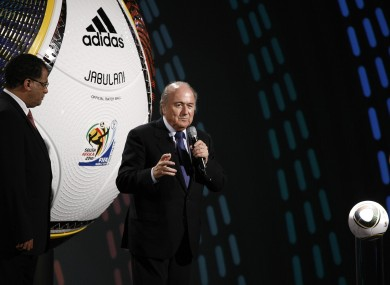 FIFA president Sepp Blatter at the launch of the official 2010 Adidas World Cup ball