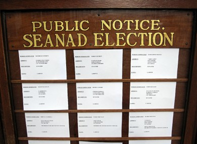 A public notice detailing candidates in April's Seanad Elections is shown at Leinster House.