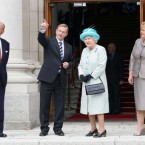 Taoiseach Enda Kenny points out the view from Government Buildings to Queen Elizabeth II. Their respective spouses, Fionnala Kenny and Prince Philip look on. (Pic: Maxwells)
