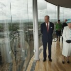 The Queen and the Duke of Edinburgh take in the panorama of Dublin from the Gravity Bar at the Guinness Storehouse. (Pic: Mark Cuthbert/UK press/Press Association Images)