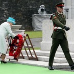 Queen Elizabeth II lays a wreath at the Irish War Memorial Garden, Islandbridge. (Pic: Paul Faith/PA Wire/Press Association Images)