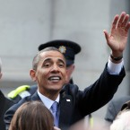 Barack waves to the crowds on a final walkabout at College Green. (Pic: Stephen Kilkenny)