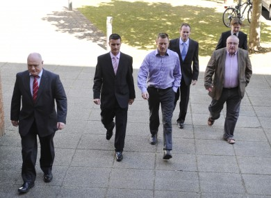 Members of IMPACT and IALPA arrive at talks earlier  today.